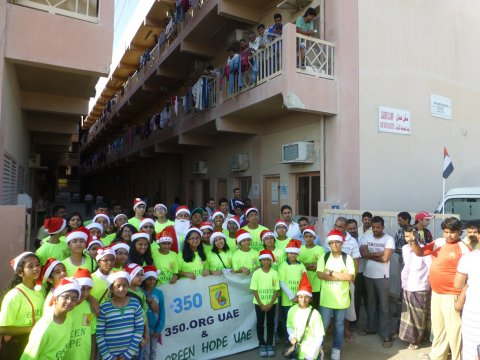 Spreading joy --- a happy group after the distribution