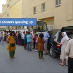 Laborers queuing up