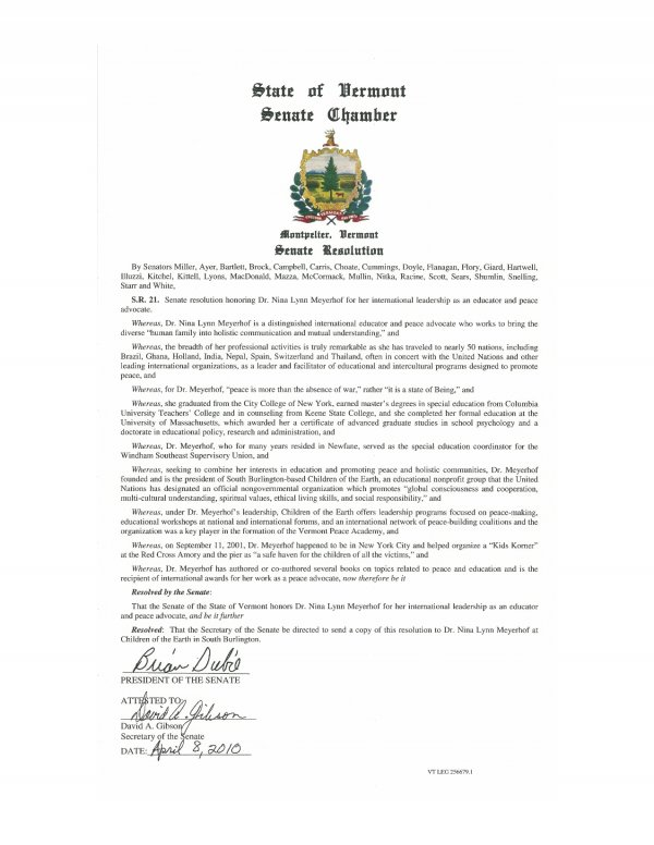 State of Vermont Senate Resolution Honoring Dr. Nina Lynn Meyerhof