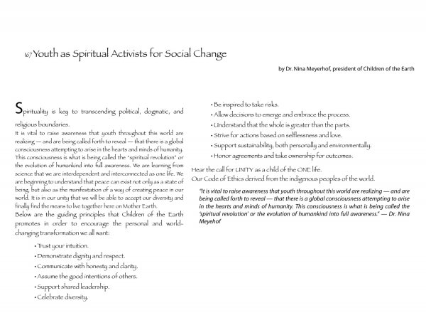 Youth as Spiritual Activists for Social Change